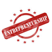 Red Weathered Entrepreneurship Stamp Circle and Stars design — Stock Photo