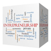 Entrepreneurship 3D cube Word Cloud Concept — Stock Photo