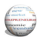 Entrepreneurship 3D sphere Word Cloud Concept — Stock Photo