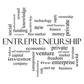 Entrepreneurship Word Cloud Concept in black and white — Stock Photo