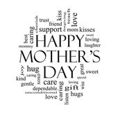 Happy Mother's Day Word Cloud Concept in black and white — Stock Photo