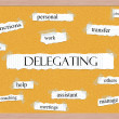 Delegating Corkboard Word Concept — Stock Photo