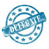 Blue Weathered Delegate Stamp Circles and Stars — Stock Photo