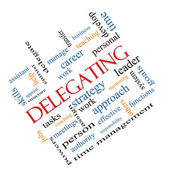 Delegating Word Cloud Concept Angled — Stock Photo