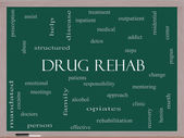 Drug Rehab Word Cloud Concept on a Blackboard — Stock Photo