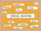 Drug Rehab Corkboard Word Concept — Zdjęcie stockowe