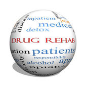 Drug Rehab 3D sphere Word Cloud Concept — Stock Photo