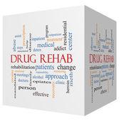 Drug Rehab 3D cube Word Cloud Concept — Stockfoto