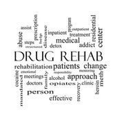 Drug Rehab Word Cloud Concept in black and white — Stock Photo