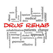 Drug Rehab Word Cloud Concept in red caps — Stock Photo