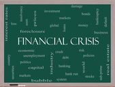 Financial Crisis Word Cloud Concept on a Blackboard — Stock Photo