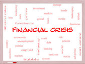 Financial Crisis Word Cloud Concept on a Whiteboard — Stock Photo