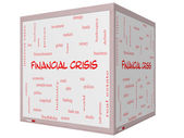 Financial Crisis Word Cloud Concept on a 3D cube Whiteboard — Stock Photo