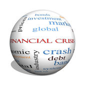 Financial Crisis 3D sphere Word Cloud Concept — Stock Photo