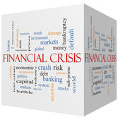 Financial Crisis 3D cube Word Cloud Concept — Stock Photo