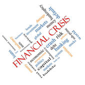 Financial Crisis Word Cloud Concept Angled — Stock Photo