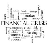 Financial Crisis Word Cloud Concept in black and white — Stock Photo