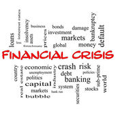 Financial Crisis Word Cloud Concept in red caps — Stock Photo