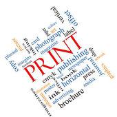 Print Word Cloud Concept Angled — Stock Photo