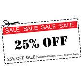Twenty Five Percent Off Sale Coupon — Stock Photo