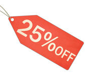 Twenty Five Percent Off Sale Red Tag and String — Stock Photo