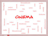 Cinema Word Cloud Concept on a Whiteboard — Stock Photo