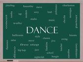 Dance Word Cloud Concept on a Blackboard — Stock Photo