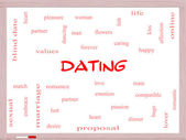 Dating Word Cloud Concept on a Whiteboard — 图库照片