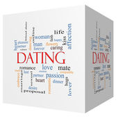 Dating 3D cube Word Cloud Concept — Stock Photo