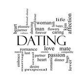 Dating Word Cloud Concept in black and white — Stock Photo