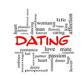 Dating Word Cloud Concept in red caps — Stock Photo