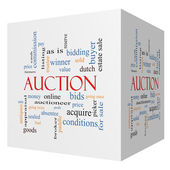 Auction 3D cube Word Cloud Concept — Stock Photo