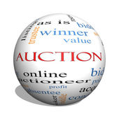 Auction 3D sphere Word Cloud Concept — Stock Photo