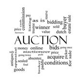 Auction Word Cloud Concept in black and white — Stock Photo
