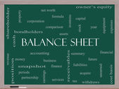 Balance Sheet Word Cloud Concept on a Blackboard — Stok fotoğraf