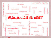 Balance Sheet Word Cloud Concept on a Whiteboard — Stok fotoğraf