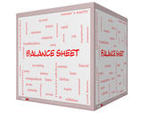 Balance Sheet Word Cloud Concept on a 3D cube Whiteboard — 图库照片