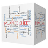 Balance Sheet 3D cube Word Cloud Concept — Stock fotografie