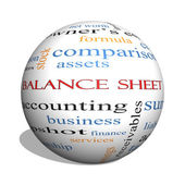 Balance Sheet 3D sphere Word Cloud Concept — Stok fotoğraf