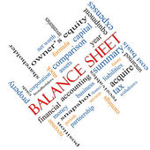 Balance Sheet Word Cloud Concept Angled — Stock fotografie