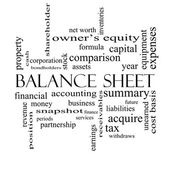 Balance Sheet Word Cloud Concept in black and white — Foto de Stock