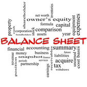 Balance Sheet Word Cloud Concept in red caps — Stok fotoğraf
