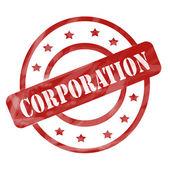 červené zvětralých korporace razítko kruhy a hvězdy — Stock fotografie