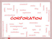 Corporation Word Cloud Concept on a Whiteboard — Stock Photo