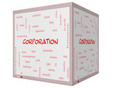 Corporation Word Cloud Concept on a 3D cube Whiteboard — Stock Photo