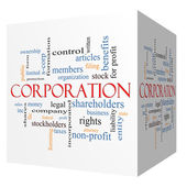 Corporation 3D cube Word Cloud Concept — Stock Photo