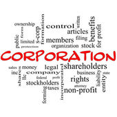 Corporation Word Cloud Concept in red caps — Stock Photo