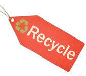 Reciclar cadena y etiqueta verde y roja — Foto de Stock