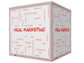 Viral Marketing Word Cloud Concept on a 3D cube Whiteboard — Stock Photo
