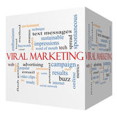 Viral Marketing 3D cube Word Cloud Concept — Stock Photo